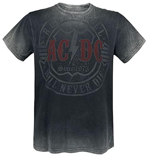 AC/DC Rock & Roll - Will Never Die Hombre Camiseta Gris Oscuro XL, 100% algodón, Regular