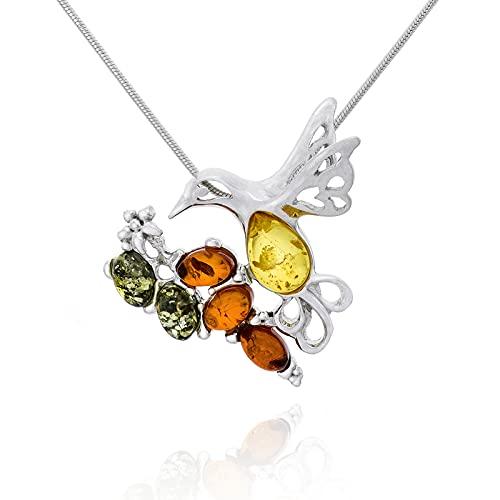 AMBEDORA Collar de mujer de plata 925 brillante de colores ámbar báltico, colgante de colibrí en serpiente, set de regalo