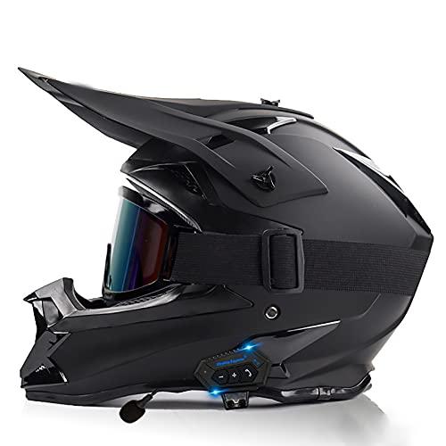 Casco De Motocicleta Eléctrico Todoterreno con Bluetooth Casco Completo De Carreras De Montaña Y Cuesta Abajo Casco De Competición para Hombres Y Mujeres Certificación ECE/Dot A,XL