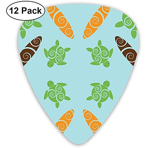 Paquete de 12 Honu y tablas de surf con tela de diseño en espiral (8153) Juego completo de regalo de guitarras para guitarrista