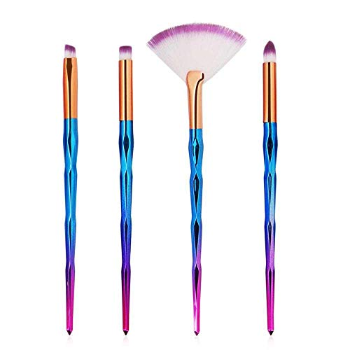 MEISINI Makeup Brush Set Foundation Powder Makeup Brushes Rainbow Makeup Eyeshadow Brushes, 4Pcs