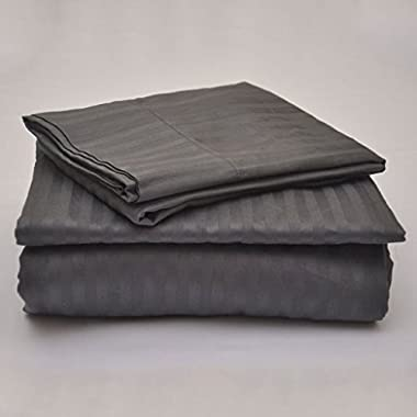 True Linen offers- Elegant 6PC Sheet set with 12  Deep pocket made by 400TC 100% Egyptian cotton(1 Fitted sheet, 1 Flat sheet and 4 pillowcases) easy to use Queen, Dark Grey Stripe