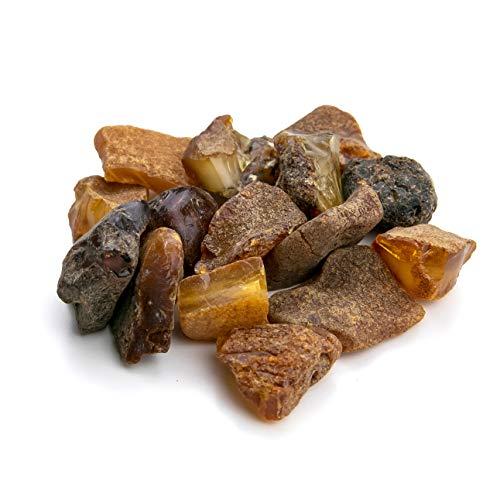 Amber Culture Rohbernsteine, baltisches Kunstharz, zufällige Auswahl (Size 3 - 4 gr | Amount: 25 gr) gold