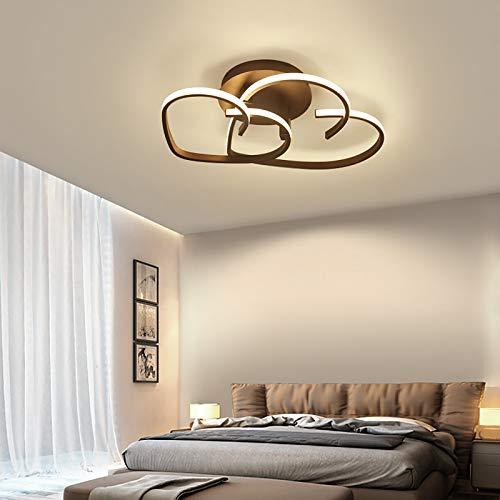 OUKANING Lámpara de Techo LED Moderna,Luz de techo de dormitorio con control remoto regulable,Lámpara en forma de corazón con control remoto Para dormitorio Sala de estar Restaurante,Marrón (65cm)