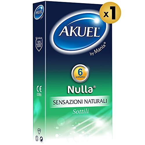 Akuel Nulla, preservativi sottili per sensazioni naturali, 6 pezzi