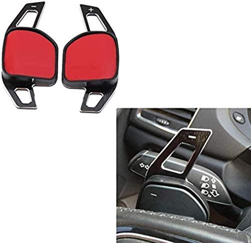 WYXC Volante de Coche Dsg Paddles Extension Shifters Switch Stickers Decoración para Seat Alhambra/Ateca/Leon FR/Leon/Leon 4 5F, Silver, Black, Black