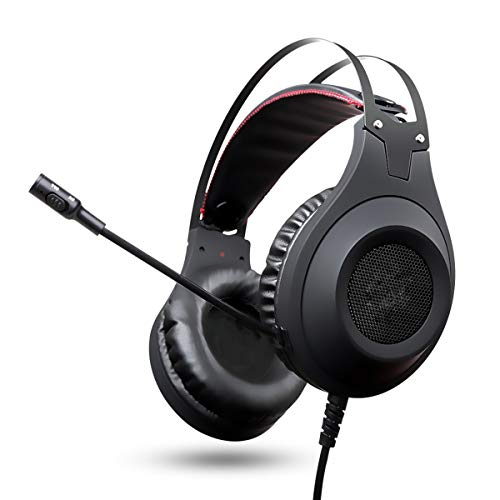 ZHD&CC PS4 - Auriculares de diadema bajos con micrófono para PC Gamer/Nintendo Switch/New Xbox Un/teléfono, color negro