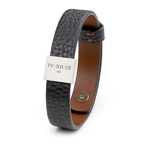 MignonandMignon Personalized Leather Mens Personalized Bracelet Gift for Him...