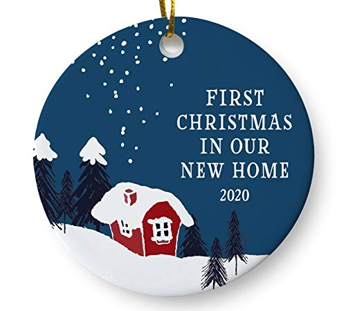 First Christmas in Our New Home 2020 Christmas Ornament, Winter Woodland Ornament, Housewarming Gift, Homeowner Present, 3 Inch Flat Ceramic Ornament with Gift Box
