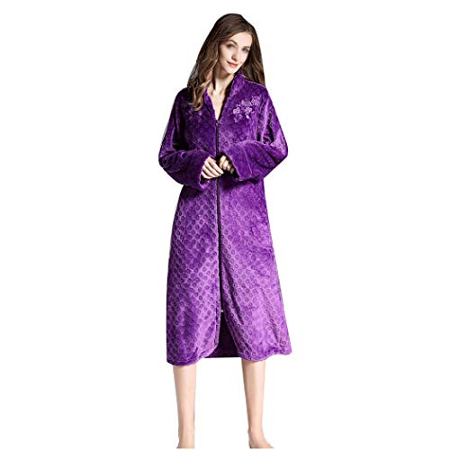 YONGYONG Flanell Fein Bestickter Langer Schlafanzug Mit Halbem Ausschnitt Und Lockerem Reißverschluss-Bademantel Für Mutterschaft Clothing/Sleepwear (Color : Purple, Size : S)