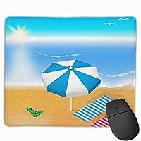 マウスパッド オフィス最適 海 砂浜 日光浴 太陽 晴れ ゲーミング 防水性 耐久性 滑り止め 多機能 標準サイズ25cm×30cm
