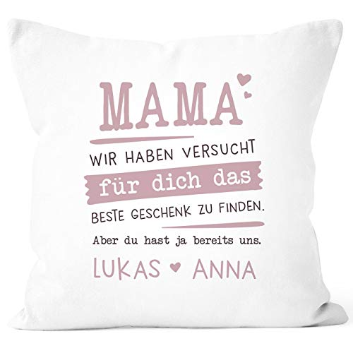 SpecialMe® Kissen-Bezug personalisiertes Geschenk Spruch Papa/Mama wir Habe versucht Finden anpassbare Namen Dekokissen Mama - 2+ Namen weiß 40cm x 40cm