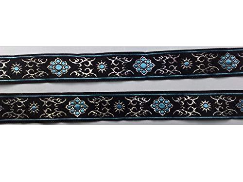 2 m Borte Ornament Medallion Trachten Wiesn Bordüre Zierband Webband Landhaus Dirndl 22 mm breit Farbe: schwarz/türkis/lurexsilber