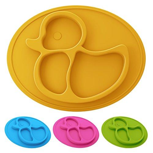 Baby und Kinder Silikonteller Ente mit Ansaugfunktion, Babyteller mit Unterteilung, rutschfest, haftet am Tisch, Babygeschirr bruchsicher, Platzset spülmaschinegeeignet, Entchen, BPA-frei (Gelb)