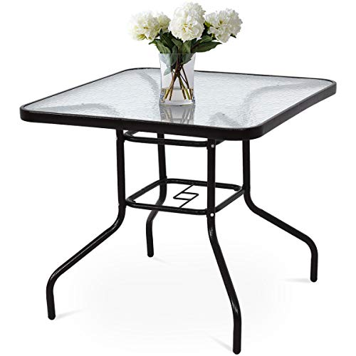 """TANGKULA Patio Table 31.5"""" Tempered Glass Top Metal Frame Outdoor Garden Poolside Balcony Dining Bistro Table (Square)"""
