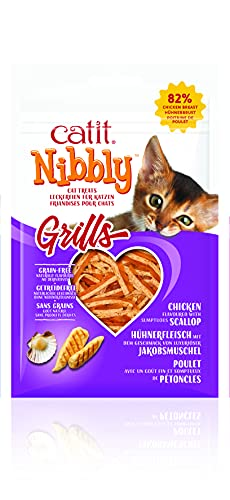 Catit Nibbly Grills Kaustreifen für Katzen aus Hühnerbrustfilet mit Jakobsmuschel, 30 g