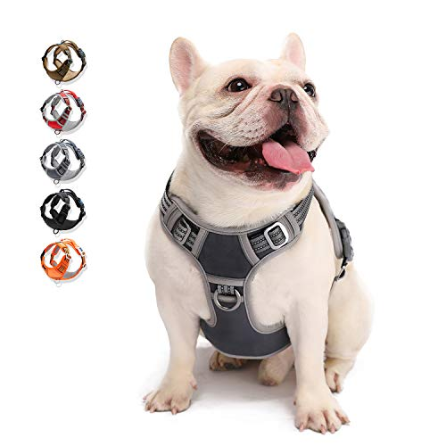 Dog Harness No Pull Reflective, WALKTOFINE Comfortable Harness with Handle,Fully Adjustable Pet Leash Vest for Small Medium Large Dog Breed Car Seat Harness Grey M