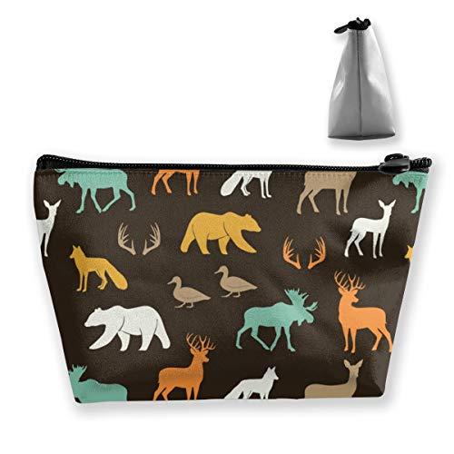 Multi-Functional Print Trapezoidal Storage Bag for Female Woodland Animals in Dark Rye