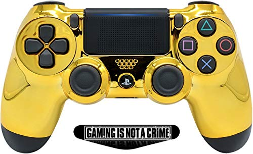 PS4 PRO Rapid Fire Custom MODDED Controller Exclusive Unique Designs - CUH-ZCT2U (Multiple Designs Available) (Chrome Gold)