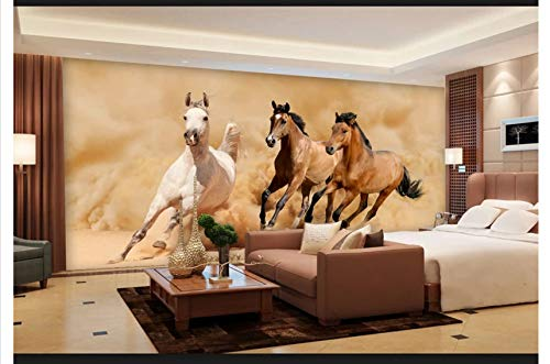WH-PORP 3D Papel pintado Perspectiva de papel tapiz 3D Gallop Horse Pared de fondo 3D natural-350cmX245cm