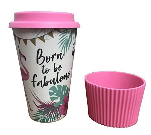 Tazza Termica Caffè Bamboo  Tazza Ecologica da Viaggio Riutilizzabile in Fibra di Bambù - Bicchiere Termico con Coperchio e Polsino in Silicone, senza BPA - Lavabile in Lavastoviglie - Coffee To Go