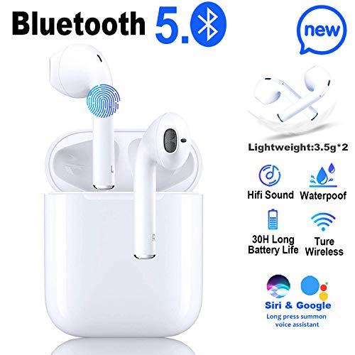 Bluetooth Headset 5.0 Automatisches Pairing In Ear Kabellos Kopfhörer,IPX5 Wasserdichtem Bluetooth Kopfhörer,30H Gesprächszeit,HD-Klangqualität Sport Kopfhörer für Apple/iPhone/Huawei/Samsung/Airpods