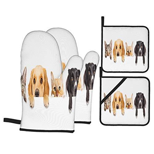 Guante de Horno de 4 Piezas y agarradera,Fila Tops Cabezas Gatos Perros,Guantes Aptos para Alimentos Antideslizantes Impermeables y Resistentes al Calor para microondas cocinar y Hornear en la Cocina