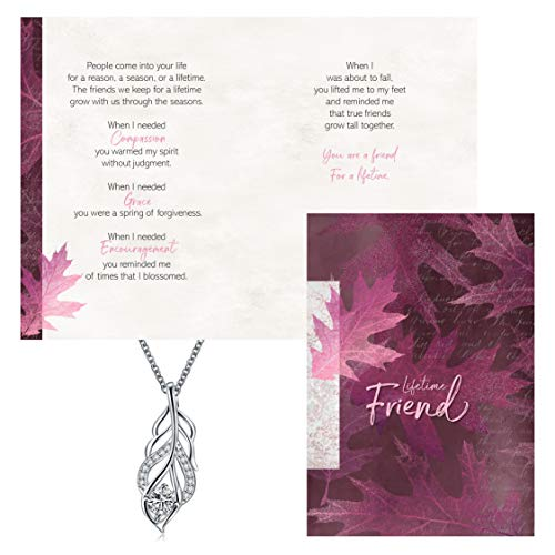 Smiling Wisdom - Leaf Pendant Clear Cubic Zirconia Friendship Gift Set - Reason Season Lifetime Friend - Unique Woman Gift Set For Her Best Woman BFF Friend - .925 Silver Plated - Silver Pink