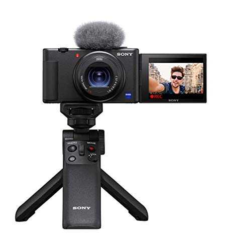 Sony GP-VPT2BT Bluetooth Handgriff (für Selfies, YouTube und Vlogging, Tripod, kompatibel mit ZV-1, A9M2, A9, A7RM4, A7RM3, A7M3, A6600, A6400, A6100, RX100M7, RX0M2) schwarz