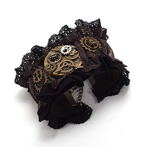 Punk Lolita Victorian Wristband Lace, Alloy Gears, Chain Extender Chain, Floral Lace Length: about 18cm + 7cm extend chain