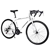 Lightweight high Carbon Steel Road Bicycle, oTemrcloc Begasso Shimanos Aluminum Full Suspension Road Bike 21 Speed Disc Brakes, 26 inch Durable Bike, 700c Tire [Fast Delivery from The U.S.]