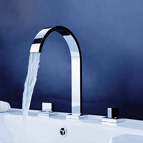 Grifo mezclador de lavabo de baño de doble manija montado en la cubierta Grifos de agua fría y caliente Grifos de baño cuadrados de 3 piezas 3 orificios
