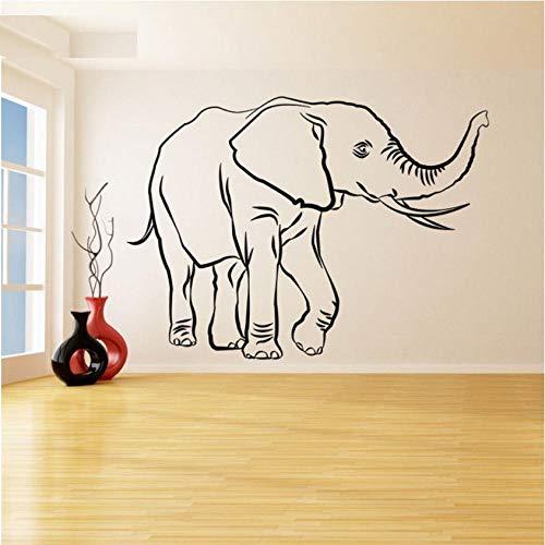 Guyuell Wandtattoo Vinyl Wanddekoration Lucky Elephant Trunk Up Weiser Reichtum Trompete Tierkunst Abnehmbare Poster 57 * 79 Cm