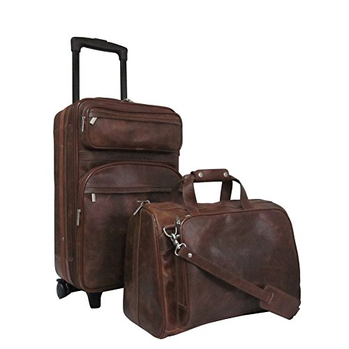 Brown Leather Theme Travel Wheeling Carry-on Luggage 2-Piece Set, Classic Vintage Casual Pattern, Stylish Fashionable, Lightweight, Softsided, Upright Rolling Shoulder Strap Suitcase, Vibrant Color