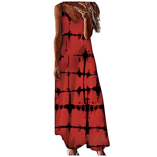 Ainiyo Damen Kleider Mode V-Ausschnitt Farbverlauf ärmelloses Spaghetti Maxikleider Sommerkleider 50er Vintage Boho Rockabilly Cocktailkleider 3D Drucken TShirtkleider Teenager Mädchen Higlles Damen