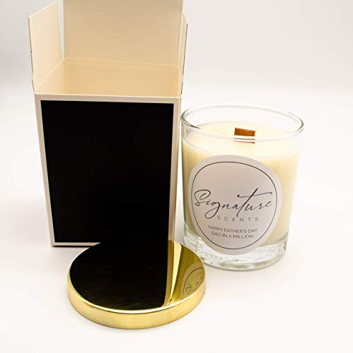 Father's Day Luxury Woodwick Soy Wax Candle - 20cl/140g Dad In A Million - One Special Gift Box