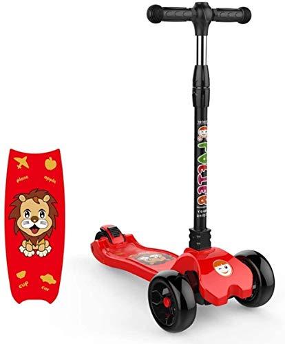 Porte-bébé HZYD Kids Scooter, 3 Roues Clignotant for 2-16 Ans Olds garçons et Filles, Hauteur réglable Enfants Scooter avec Frein arrière (Couleur: Noir), Couleur: Rouge ( Color : Red )