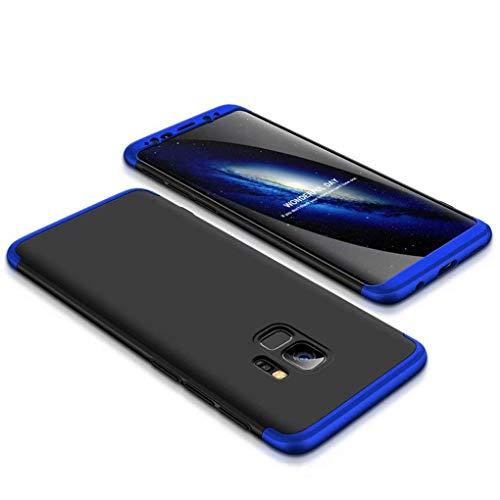 Preisvergleich Produktbild Homikon 360 Grad Hart PC Hülle 3 in 1 Komplettschutz Tasche Plastik Handyhülle mit Tempered Glas Panzerglas Ganzkörper-Koffer Schutzhülle Kompatibel mit Samsung Galaxy A6 Plus 2018 - Schwarz Blau