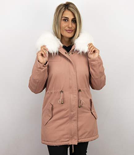 Lange Dames Winterjas - Met Grote Bontkraag - Roze
