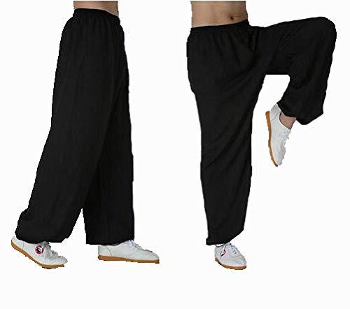 Frau Und Männer Tai Chi Hosen Bambus Hanf Wu SHU Kung Fu Kleidung Weiche Bequeme Atmungsaktive Yoga-Ausrüstung Kampfkunst Zen Meditation Traditionelle Wing Chun Uniform,Black-XL
