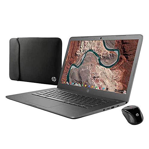 2019 HP Chromebook Premium Laptop Notebook Computer 14' Full HD Intel Celeron N3350 Processor 4GB LPDDR4 Memory 32GB eMMC Bonus Sleeve Wireless Mouse Bluetooth 4.2 Chrome OS-Gray