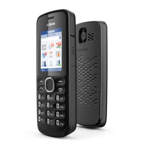 Nokia 110 Handy (4,5 cm (1,8 Zoll) Bildschirm, 10MB interne Speicher, FM Radio, GPRS, Java, Dual-SIM) schwarz