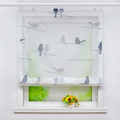 Joyswahl Voile Raffrollo mit Vogel-Motiv Druck transparente Raffgardine mit Klettschiene »Ada« Schals Fenster Gardine BxH 140x140cm 1 Stück