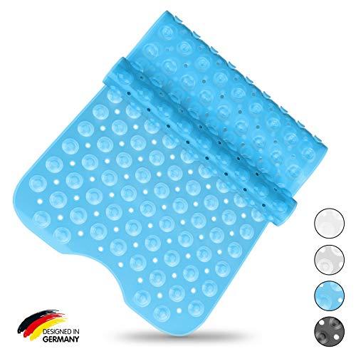 SilverRack Badewannenmatte DermaSensitive 100% BPA frei (blau) - Badewanneneinlage rutschfest 100x40 cm für Kinder und Baby - Duschmatte Antirutschmatte für sicheren Halt in der Badewanne