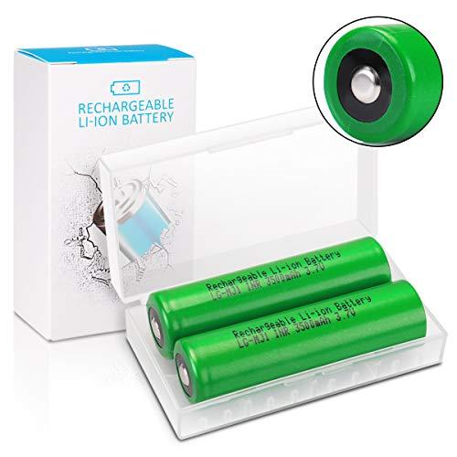 Keenstone Taschenlampe Akku 3,7V LG-MJ1 Wiederaufladbarer Batterie 3500mAh Li-Ionen Button Top Akku für LED-Taschenlampen Mikrofon-[2 Stücke ]