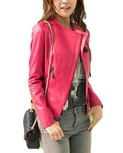 Classic Pink Damen PU Jacke Stylische Jacke Motorrad Mantel Herbst Mantel Elegant Overcoat Rose S