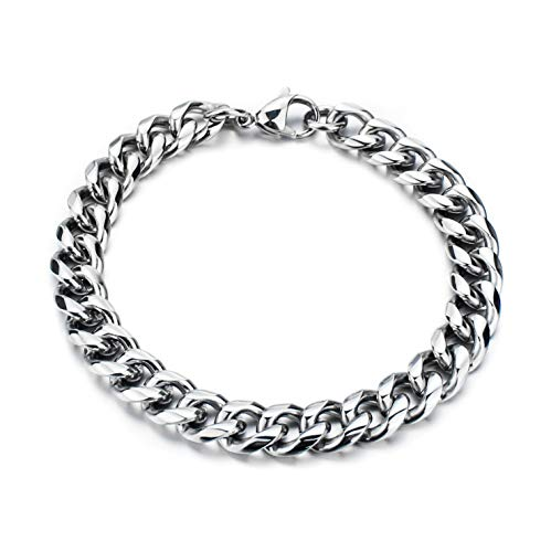 Yellow Chimes Stainless Steel Curb Chain Silver Bracelet for Men and Boys
