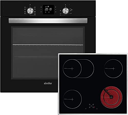 Simfer Juego de cocina empotrable Autark, riel telescópico, vitrocerámica, 9 funciones, temporizador digital, aire caliente, recirculación, seguridad para niños