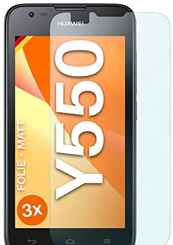 moex Schutzfolie matt kompatibel mit Huawei Ascend Y550 - Folie gegen Reflexionen, Anti Reflex Bildschirmschutz, Matte Bildschirmfolie - 3X Stück