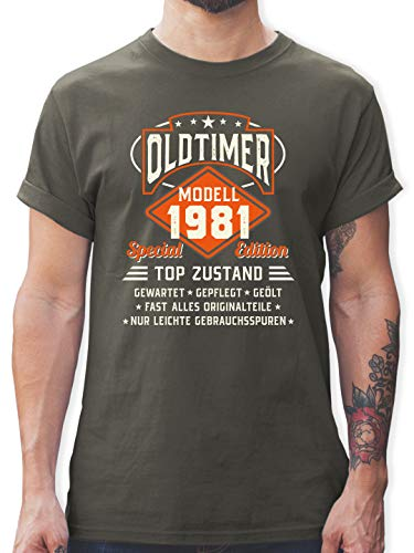 Geburtstag - Oldtimer Modell 1981 - XL - Dunkelgrau - Oldtimer männer 40 - L190 - Tshirt Herren und Männer T-Shirts